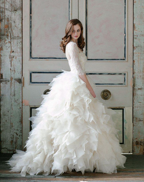 wedding dress with ruffles